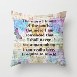 Jane Austen love quote Throw Pillow