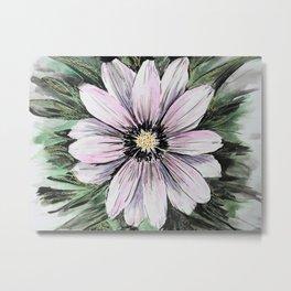 Pink Daisy mixed media painting Metal Print