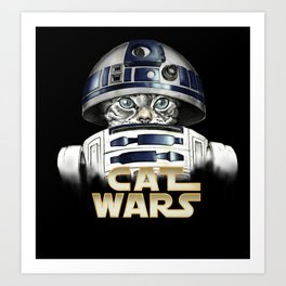 Cat R2 D2 Art Print