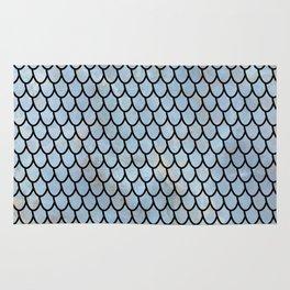 Mermaid Scales - Royal - Blue - Light Gold Rug