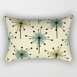 Atomic Era Sputnik Starburst Flowers Mint Rectangular Pillow