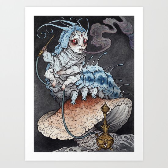 Absolem the Blue Caterpillar art print by caitlinhackettart