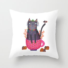 The cat and little bird Throw Pillow