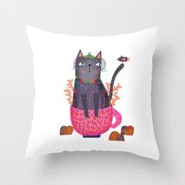 The cat and little bird Throw Pillow