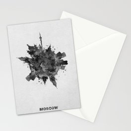 Moscow, Russia Black and White Skyround / Skyline Watercolor Painting Stationery Cards