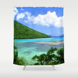Watercolor Landscape Leinster Bay 01, St. John, Your Vacation Awaits! Shower Curtain