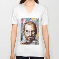 steve jobs V-neck T-shirts featuring Steve Jobs by Mariogogh