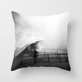 A Girl in the Fog of Owakudani - Hakone, Japan - Black and white Holga double exposure film photograph Throw Pillow