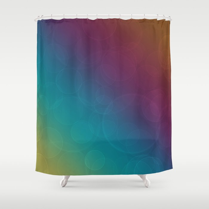 Bohek Bubbles on Rainbow of Color - Ombre multi Colored Spheres Shower Curtain