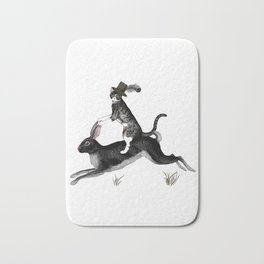Cat And Rabbit Going For A Ride Bath Mat