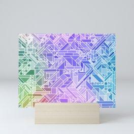 Cool Gradient (Violet Purple Blue Green) Geometric Pattern Print Design Mini Art Print