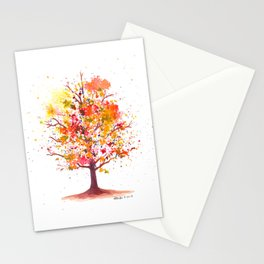 Autumn Burst Watercolor Painting Stationery Cards
