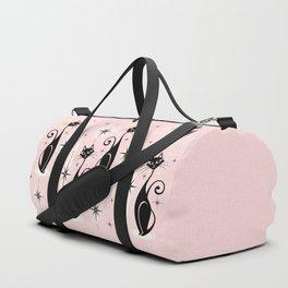 Mid Century Meow Retro Atomic Cats ©studioxtine Duffle Bag
