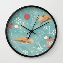 Seamless Owl Pattern with Ornaments Wall Clock