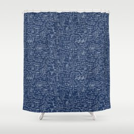 Physics Equations // Navy Shower Curtain