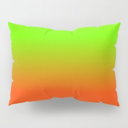 Neon Green and Neon Orange Ombré  Shade Color Fade Pillow Sham