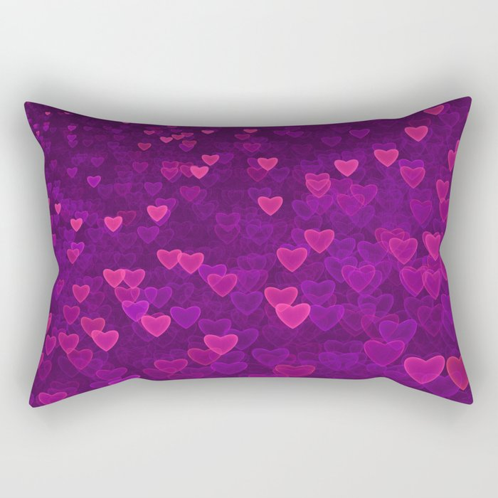 Abstract Pink Ultra Violet Love Heart Pattern   St Valentines day Rectangular Pillow