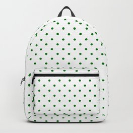 Small Green Polkadot Heart on Snow White Backpack