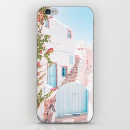 Santorini Greece Mamma Mia Pink House Travel Photography in hd. iPhone Skin