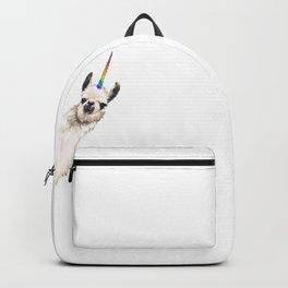 Sneaky Unicorn Llama White Backpack