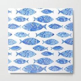 Folk watercolor fish pattern Metal Print