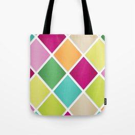 Modern Diamond Geometric Pattern Design // Pink Orange Green Blue Tote Bag