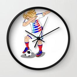 USA Soccer Player Dab Wall Clock