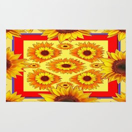 SouthWest Red Sunflowers Art Pattern design Rug