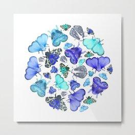 Blue Moths & Butterflies Metal Print