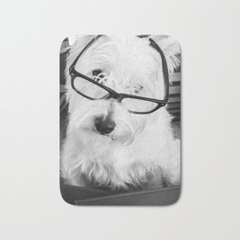 Really? Cute Westie Dog Wearing Glasses Bath Mat