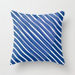 Blue and White Stripes Art Throw Pillow