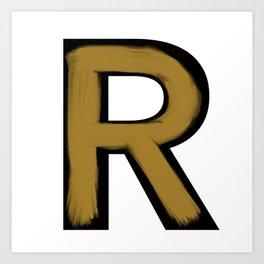 Minimalist R Gold Stroke Art Print