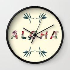 Aloha in Flowers Wall Clock