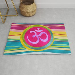 Colorfull Glitter OM symbol on  Pattern Rug