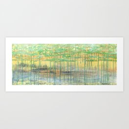 Golden & Grounded mixed media abstract landscape Art Print