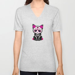Cute Pink Day of the Dead Kitten Cat Unisex V-Neck