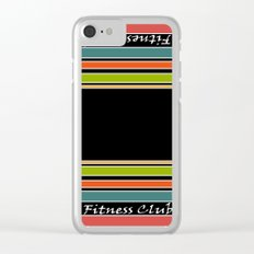 The fitness club . Sport . Colorful stripes on black background . Clear iPhone Case