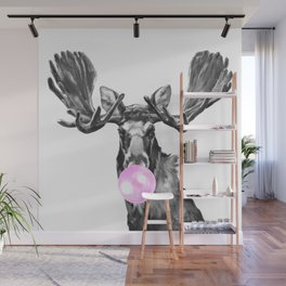 Bubble Gum Moose in Black and White Wall Mural