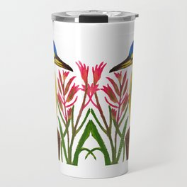 Pretty Kingfisher with Kangaroo Paw flowers Travel Mug