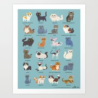 cats Art Prints featuring Cats! by DoggieDrawings