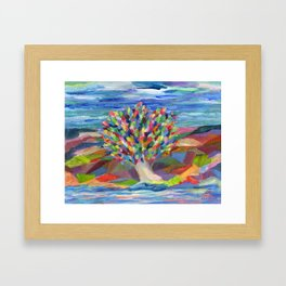 Dream Tree, a colorful acrylic expression of hopes and dreams Framed Art Print