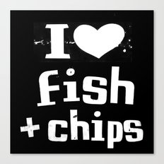 I Heart Fish and Chips - Black Canvas Print