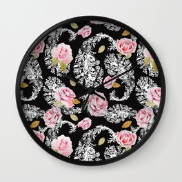 Flowering roses in the paisley Wall Clock