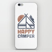 backpack iPhone & iPod Skins featuring Happy Camper by Zeke Tucker
