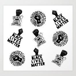 black lives matter protest seamless pattern Art Print