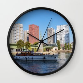 Statue of Liberty and beaugrenelle district - Paris, France Wall Clock