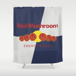 Red Mushroom Energy Boost Shower Curtain