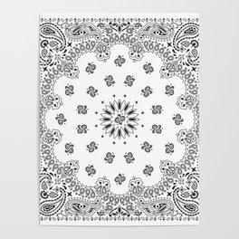 Bandana - White - Paisley - Southwestern Poster