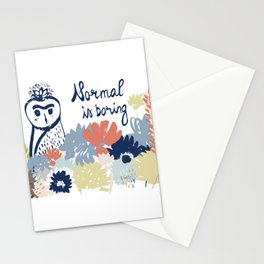 Normal is boring. Owl drawing. Floral design. Hand drawn lettering and elements. Isolated. Stationery Cards