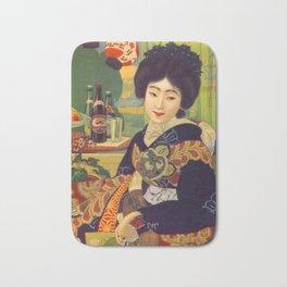 Vintage Japanese Beer Colorful Ad Bath Mat